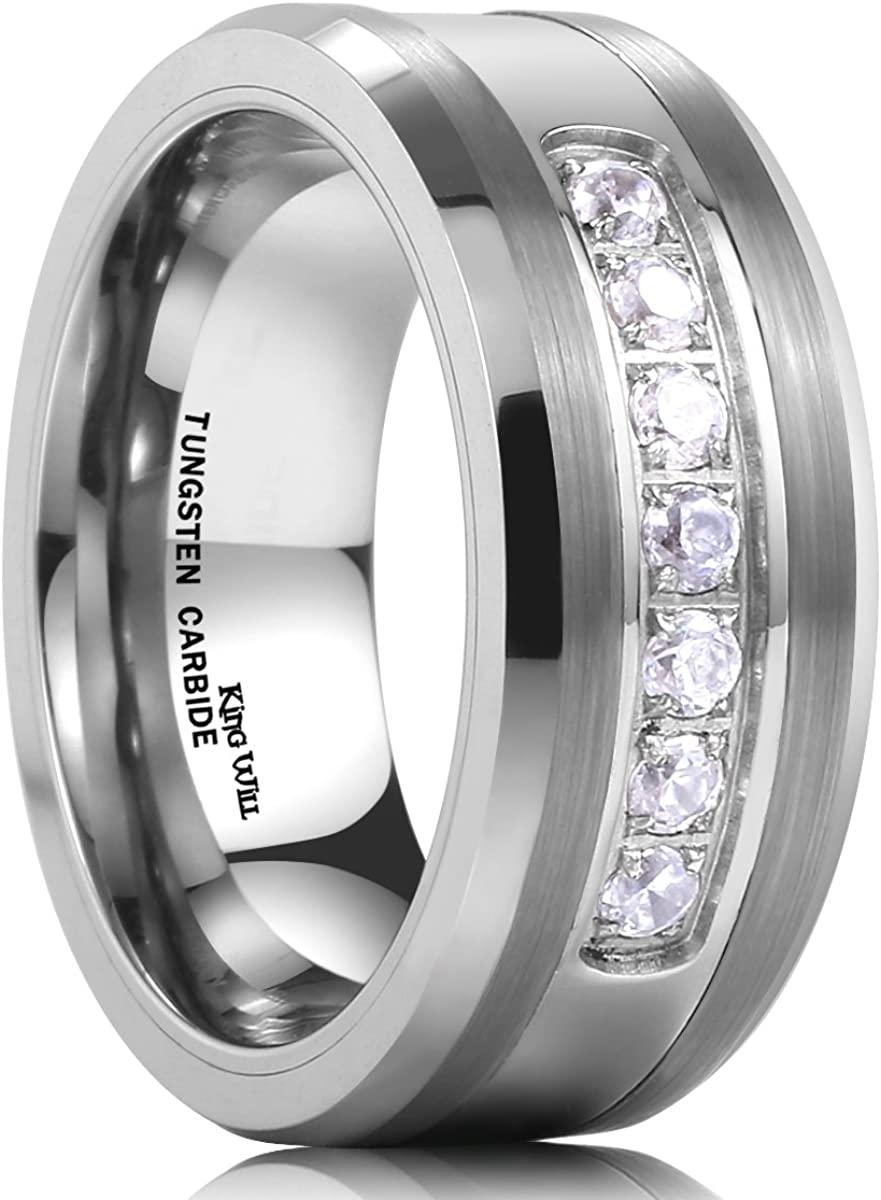 King Will GEM 8mm White Tungsten Ring Unisex Wedding Band Polished Beveled Edge CZ Stone Channel Set