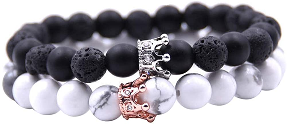 Powerfulline Exquisite 2Pcs Couples Men Women Alloy Crown Natural Stone Beads Bracelets Jewelry Gift Sale