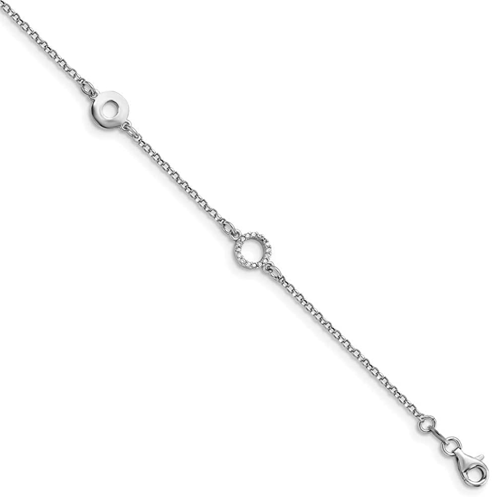 7.75mm 925 Sterling Silver Polished CZ Cubic Zirconia Simulated Diamond With 1inch Ext. Anklet 9 Inch Jewelry Gifts for Women