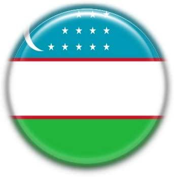 Uzbekistan : National Flag, Pinback Button Badge 1.50 Inch (38mm)