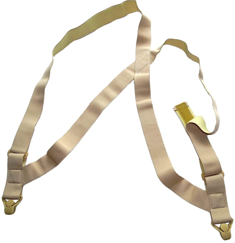 Holdup Hidden Maternity Undergarment Hip-clip Style Suspenders with beige Gripper Clasps