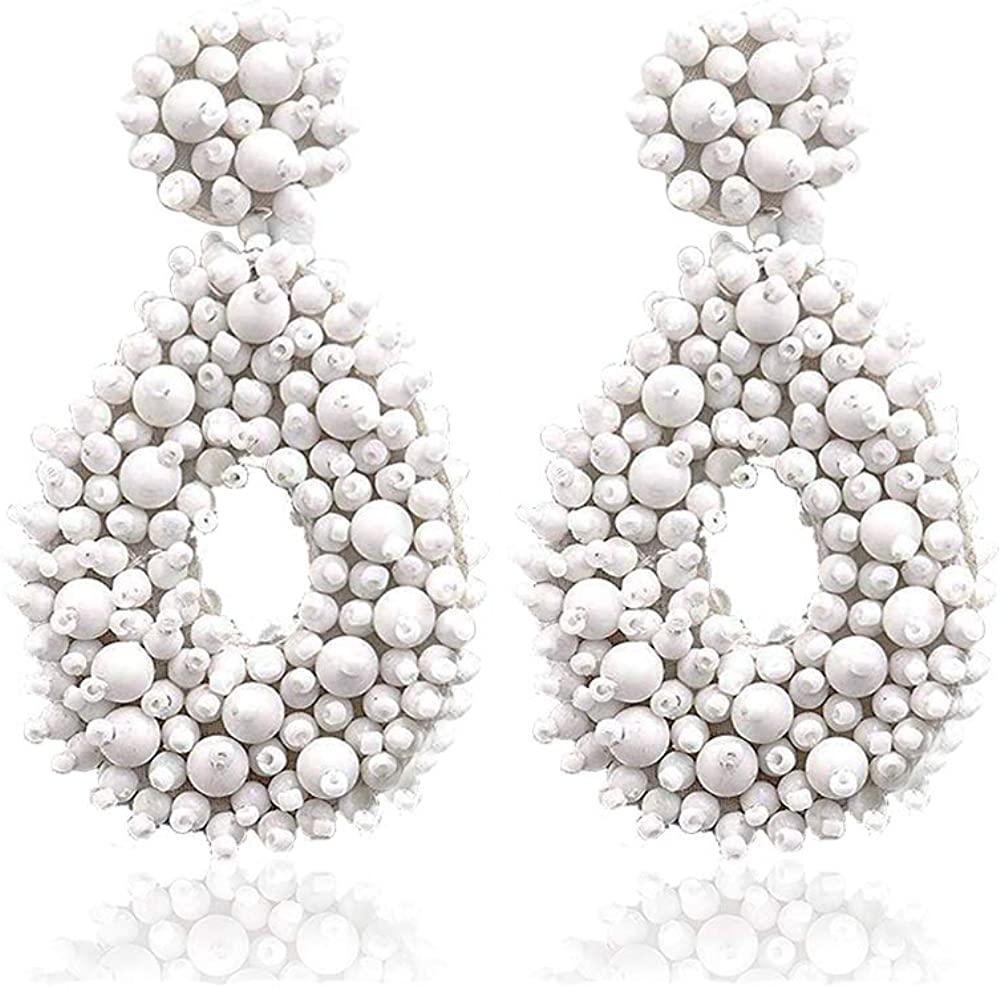 Statement Earrings - Beaded Round Teardrop Geometric Heart Bohemian Drop Dangle Earrings Gift for Women Girls