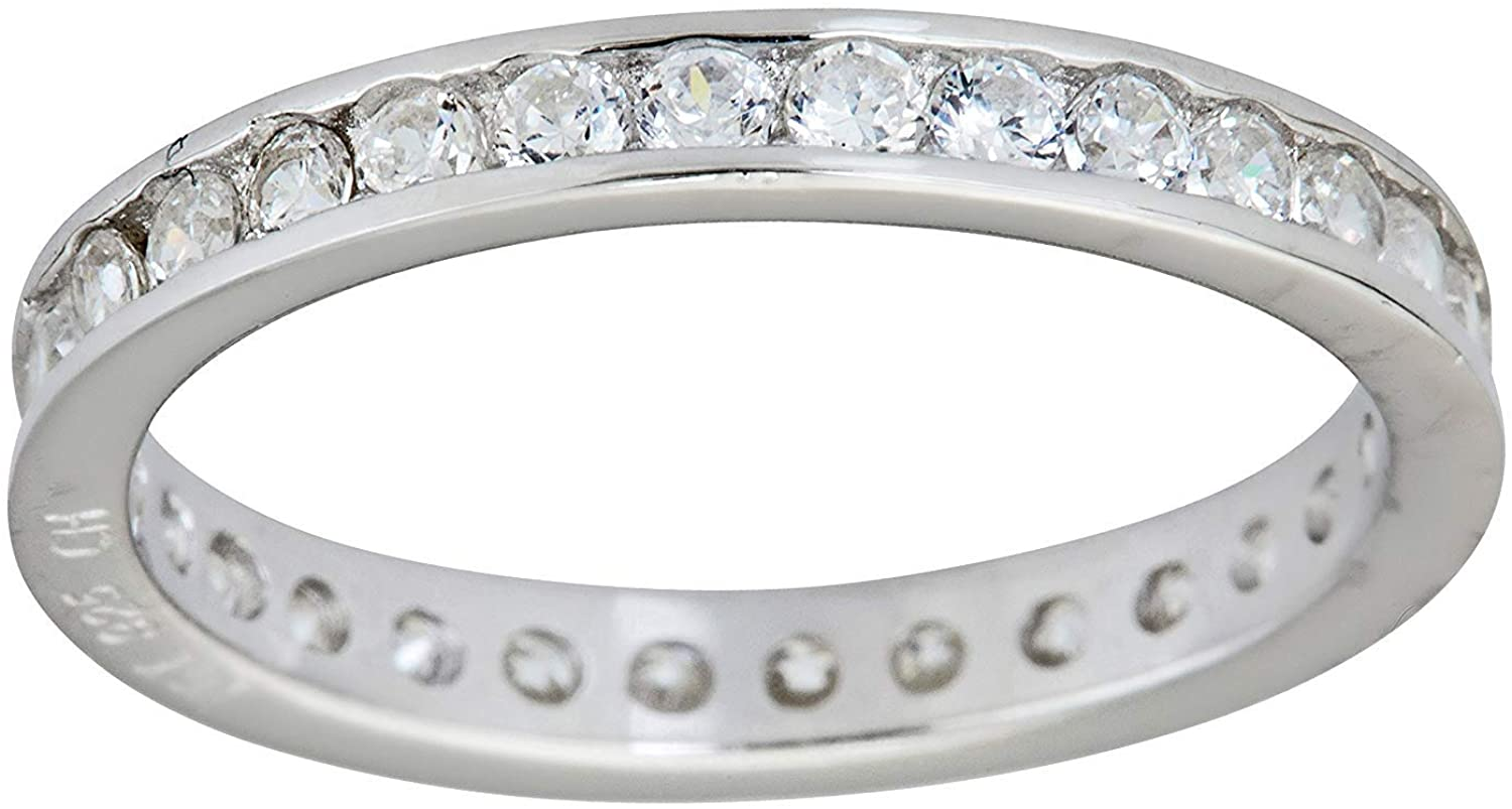 Sterling Silver 2mm Round Cut Cubic Zirconia Channel Set Eternity Band Stack Ring