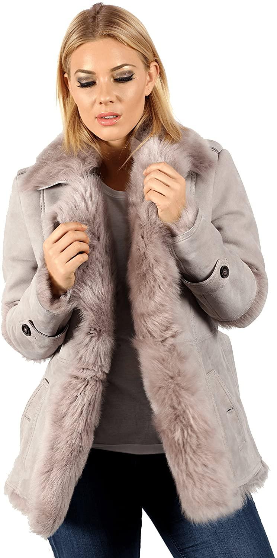 Infinity Womens Grey Toscana Sheepskin Trench Coat with Belt Tie