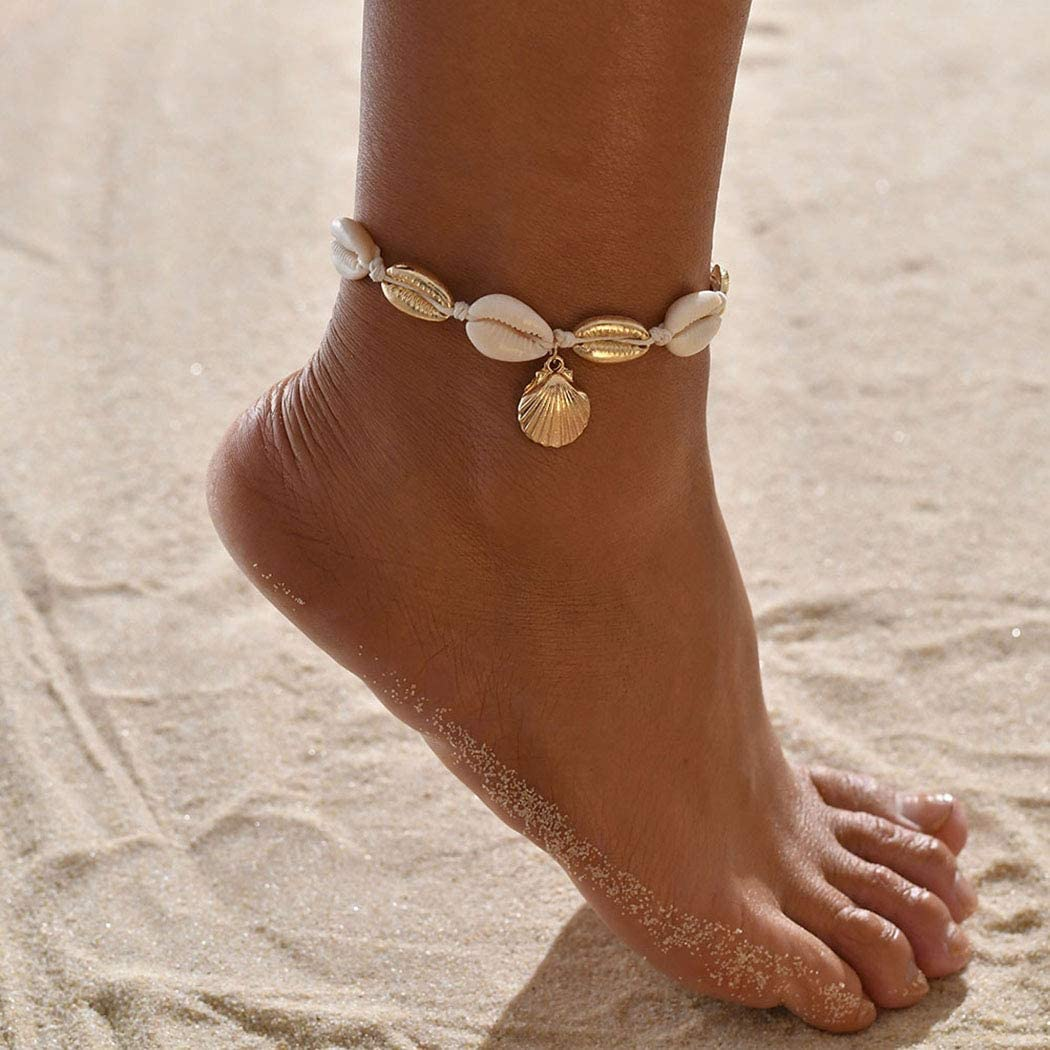 Earent Boho Shell Anklet Gold Pendant Ankle Bracelets Chain Beach Foot Jewelry Adjustable for Women and Girls