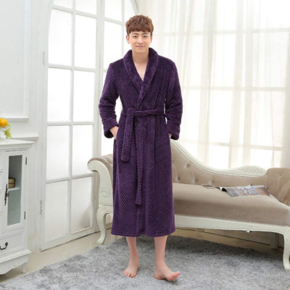 llwannr Bathrobe Robe Nightgown Sleep,Women Men Silk Flannel Long Thick Waffle Bath Robe Kimono Bathrobe Bride Wedding Bridesmaid Robes Dressing Gown,Men Purple,M