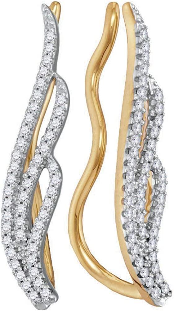 Mia Diamonds 10kt Yellow Gold Womens Round Diamond Climber Earrings (.25 cttw)