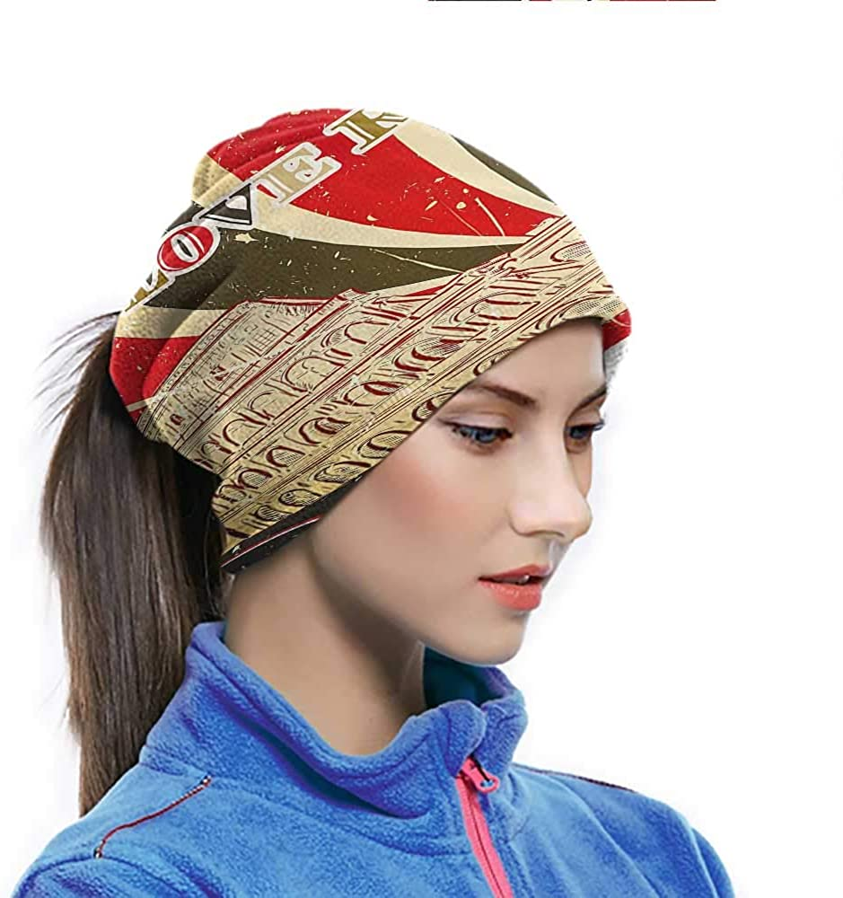 Cycling Scarf I Love Rome Lettering with Circus Tent and Bold Stripes Ancient Sports-Headbands Also can Wearing on Wrist or Around Ankle Red Dark Green and White 10 x 11.6 Inch