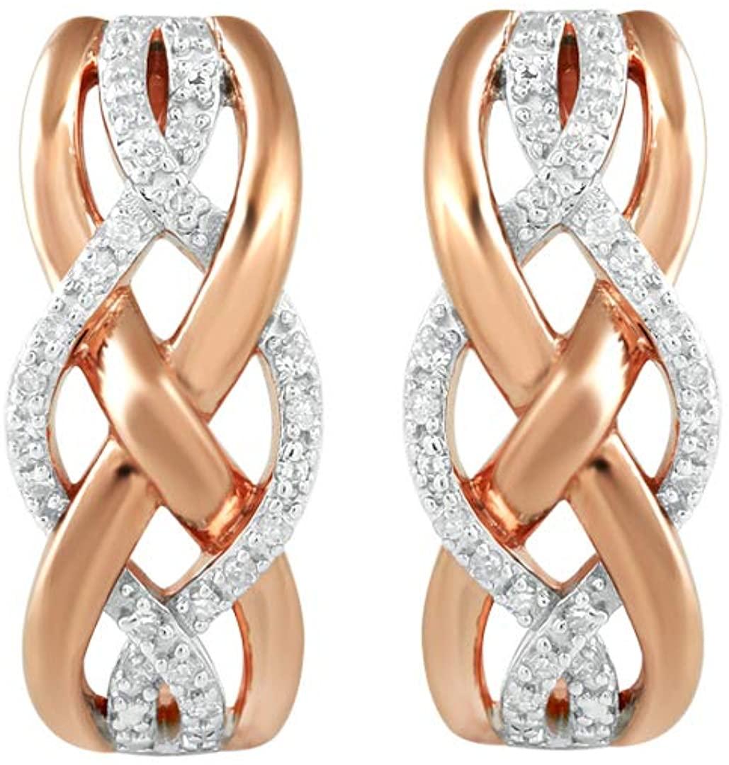 Jewelili 14k Rose Gold Over Sterling Silver Diamond Crossover Hoop Earrings 1/10cttw