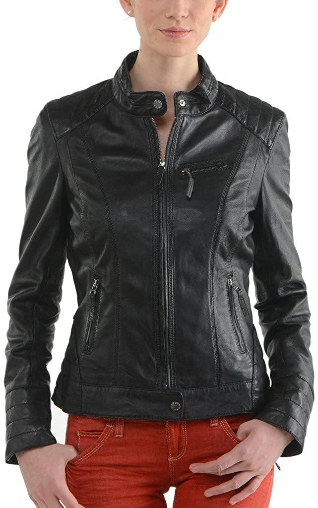 New Womens Genuine Sheep Leather Black Slim Fit Biker Jacket LTW219