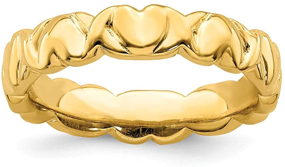 Beautiful Sterling silver 925 sterling Sterling Silver Stackable Expressions Gold-plated Hearts Ring