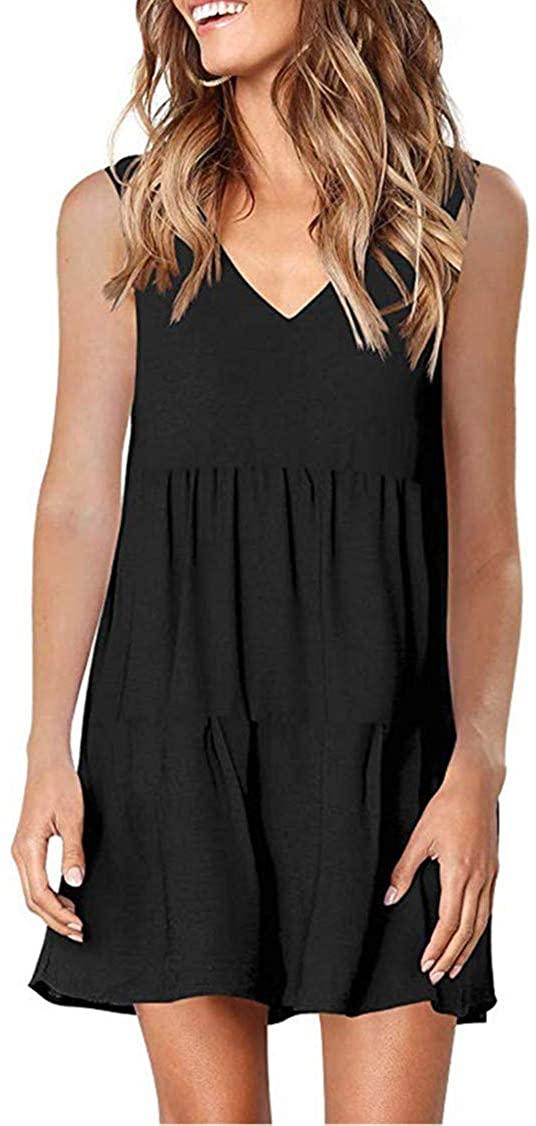 NRUTUP Women Summer Tunic Dress V Neck Sleeveless/Long Sleeve Casual Loose Flowy Swing Shift Dresses