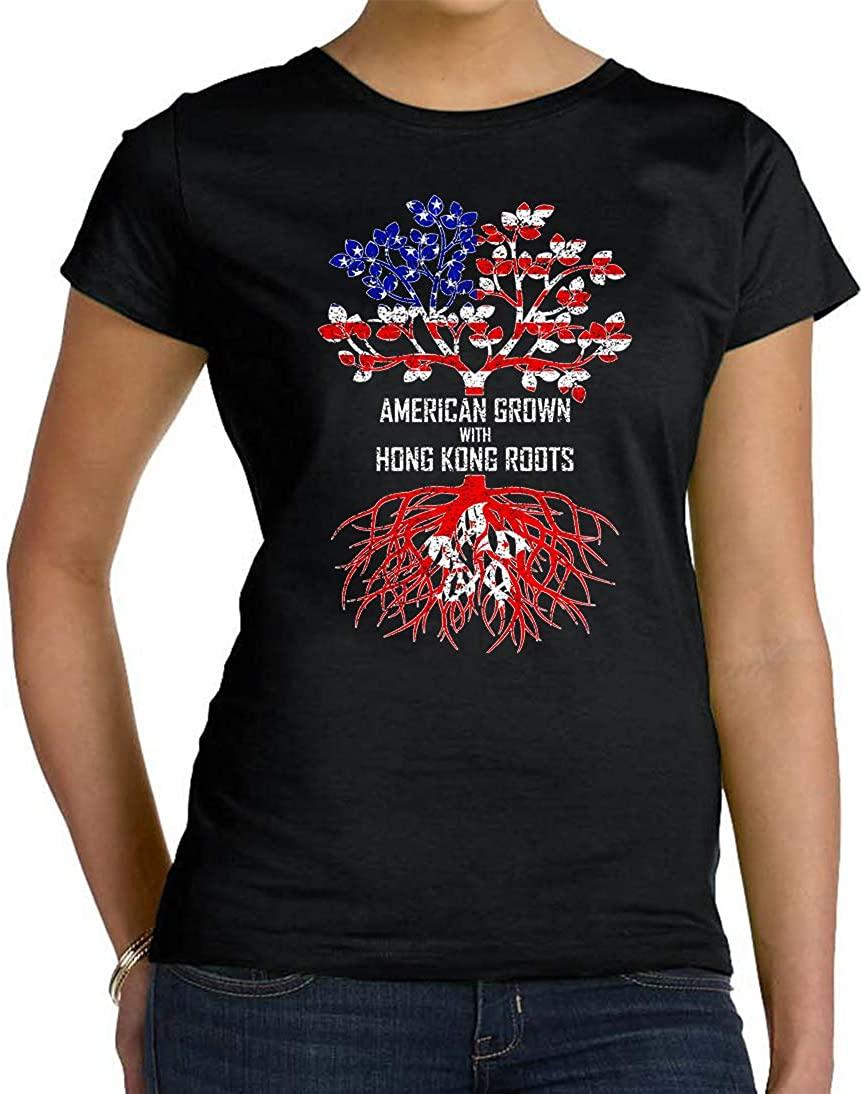 Tenacitee Women's American Grown with Hong Kong Roots T-Shirt
