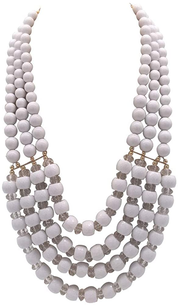 JHWZAIY 6 Colors Statement Beaded 4 Layered Strands Beads Necklace Earrings Set Gift