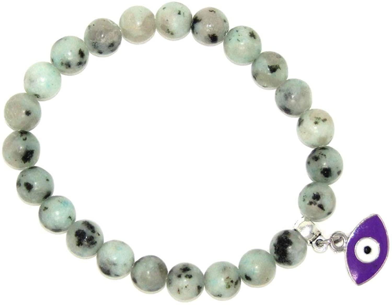 022LJ - Lotus Jasper Gemstone Bead Bracelet with Lucky Evil Eye Charm by Jeannieparnell