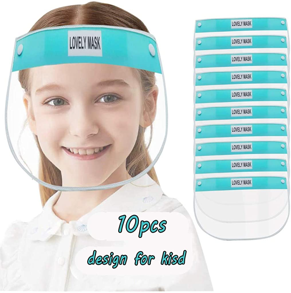 DDYIIO 10PC Kids Face Covering,Reusable Comfortable Cartoon Print Transparent Protective Easy To Clean PET/Cotton