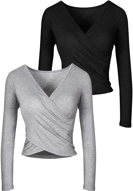 Women Deep V-Neck Wrap Crop Top Long Sleeve Cross Wrap Shirt Slim Fit