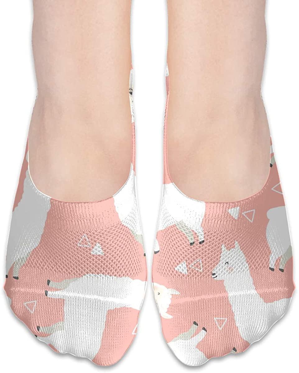 No Show Socks For Women White Llama Alpaca Low Cut Sock Liners Invisible Socks