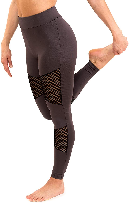 Viva Freestyle Mesh Fishnet Leggings - High Waist Yoga Pants Patched Pants Cut Out Pants Grey Tights Running Pants