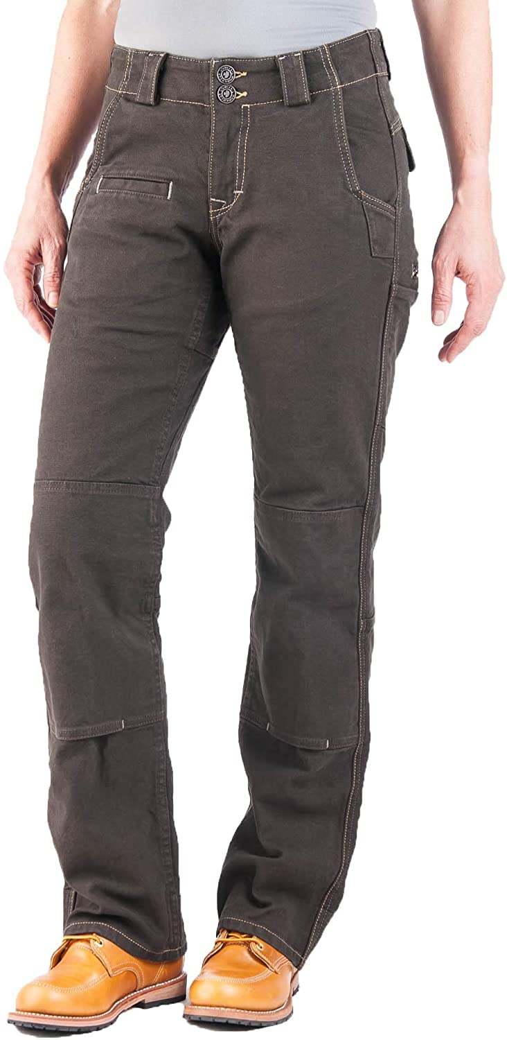 Dovetail Workwear Utility Pants for Women - Day Construct Relaxed Fit, Durable Stretch Cargo Pant, Dark Brown Canvas, Size 6, 32