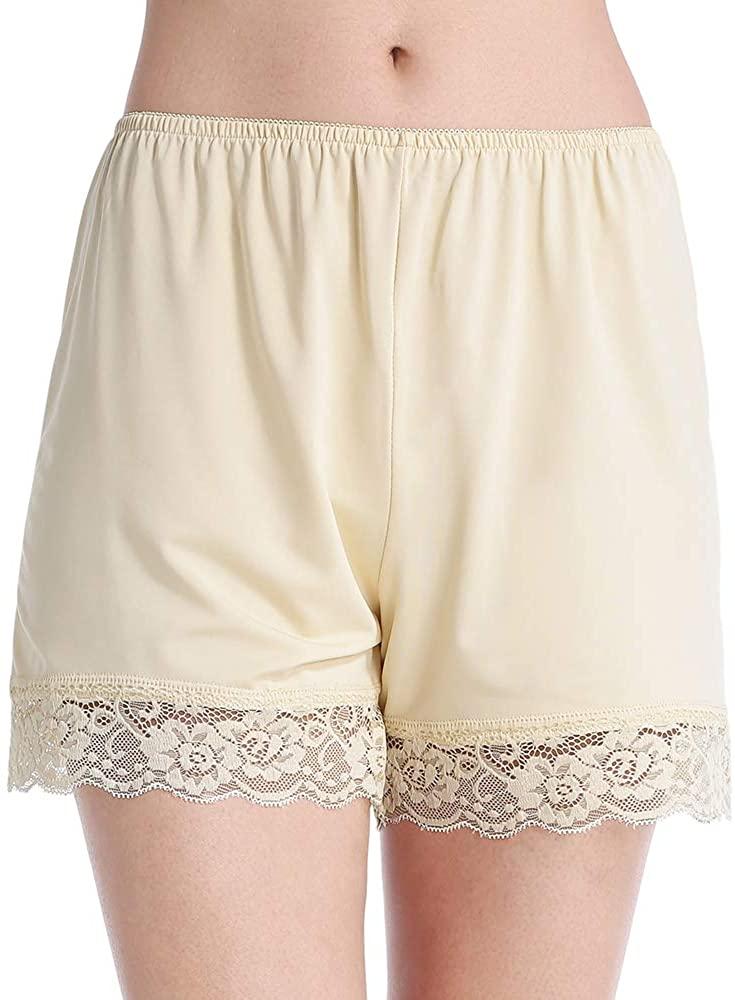 "MANCYFIT Pettipants for Women Half Slip Culotte Shorts Split Skirt Lace Snip 4"" Inseam"