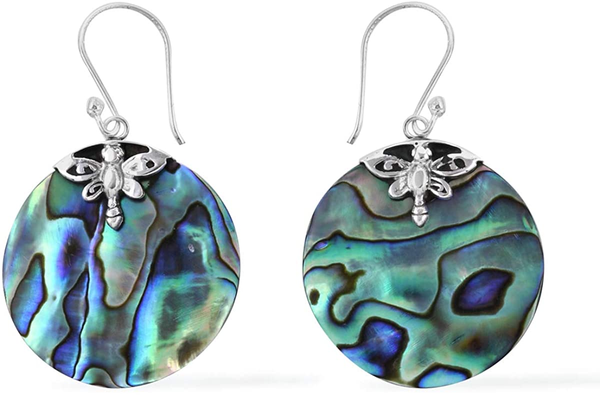 Abalone Shell 925 Sterling Silver Dangle Drop Earrings for Women(Teardrop/Dragonfly/Round/Leaf)