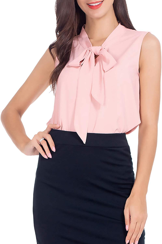 AUQCO Women's Chiffon Blouse Business Sleeveless Shirt for Work Casual