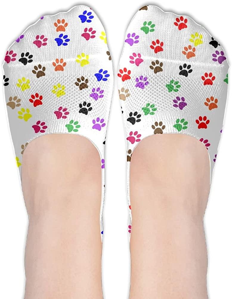 Paw Print Womens Low Cut Socks No Show Liner Boot Sock Athletic Socks Thin Fit