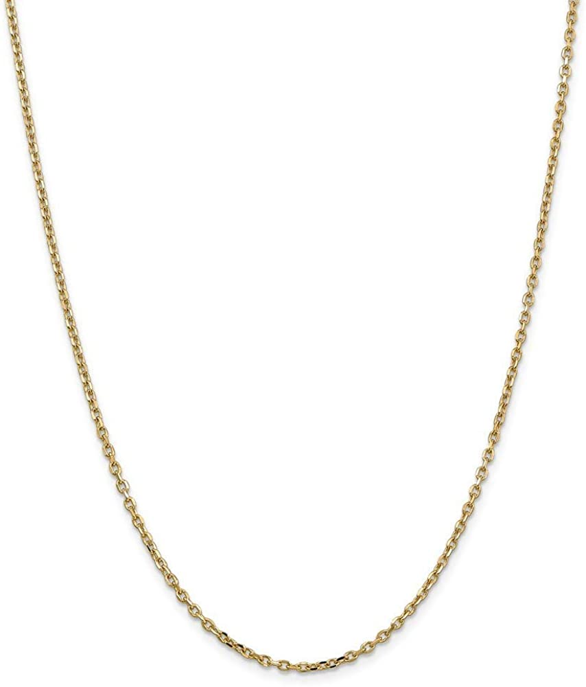 14k 2.2mm Sparkle Cut Cable Chain Necklace 30 Inch Jewelry Gifts for Women