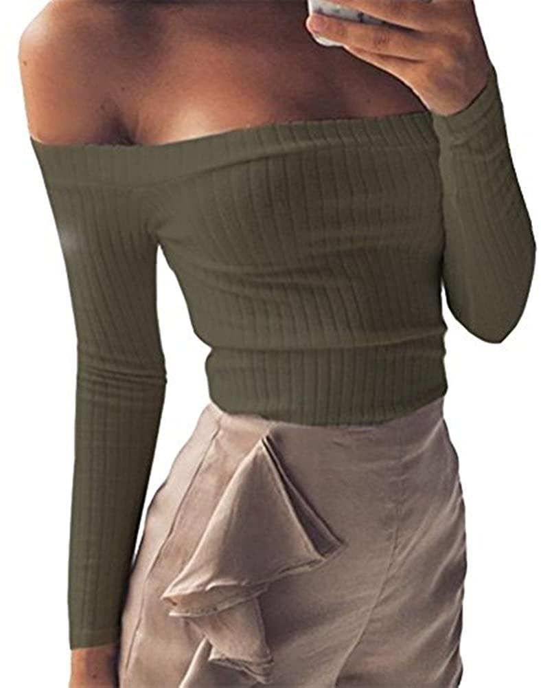 Artfish Women Off Shoulder Long Sleeve Rib-Knit Crop Top Slim Fit Tee Tube Tops for Summer