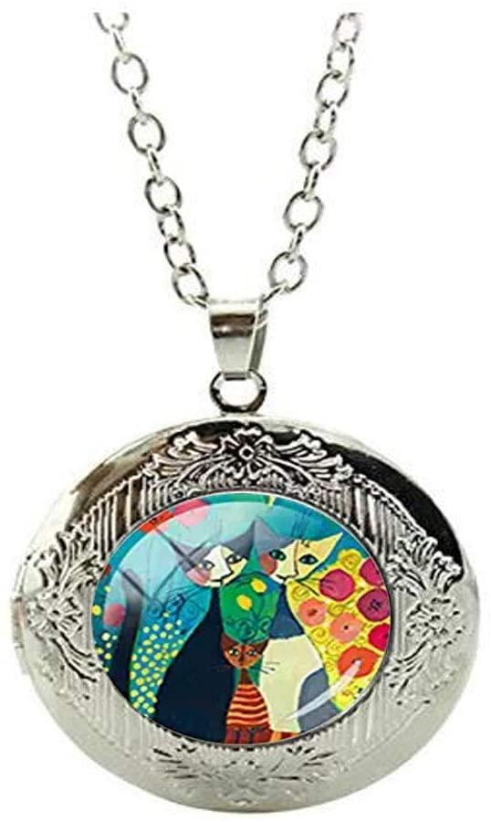 Beautiful Colorful Cats Family Glass Photo Locket Necklace Animal Lover Art Photo Jewelry Beautiful Gift