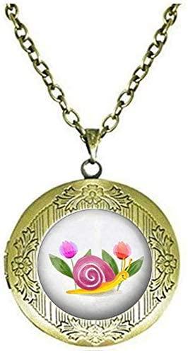 Cute Snails Locket Necklace Charm Art Photo Jewelry Handmade Jewelry