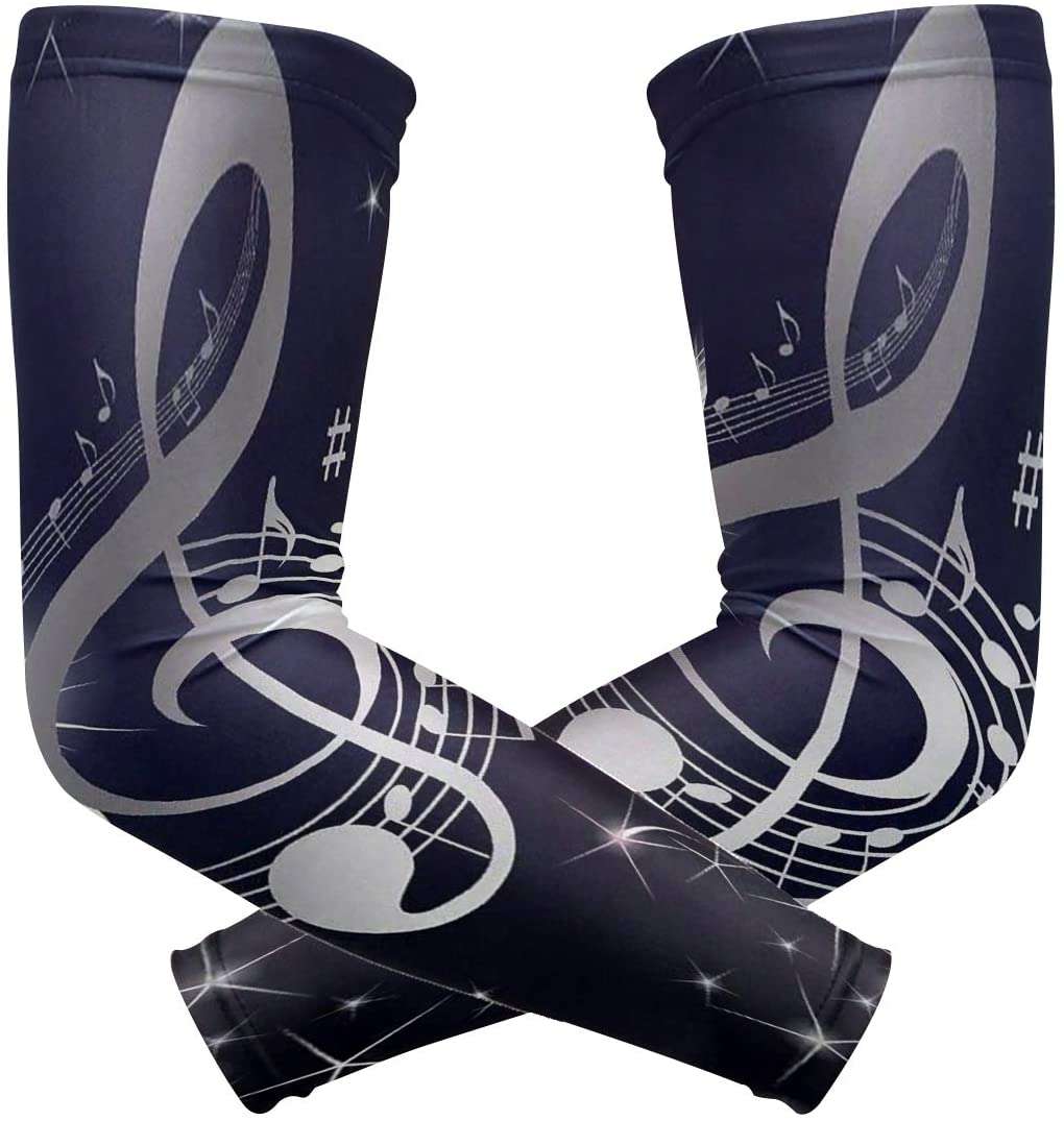 SLHFPX Arm Sleeves Music Notes Clipart Mens Sun UV Protection Sleeves Arm Warmers Cool Long Set Covers