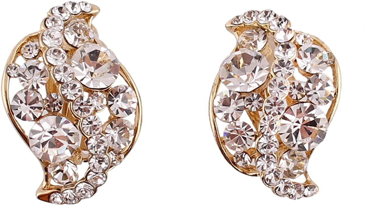 Grace Jun Vintage Bridal Rhinestone Crystal Clip on Earrings Without Piercing for Women