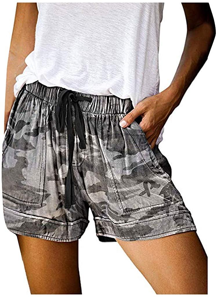 Best4UrLife Womens Comfy Drawstring Casual Elastic Waist Pocketed Cotton Linen Beach Shorts(S-XXL)