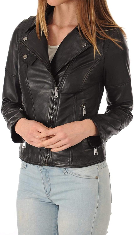Womens Stylish Genuine Lambskin Motorcycle Bomber Biker Leather Jacket WJ 244