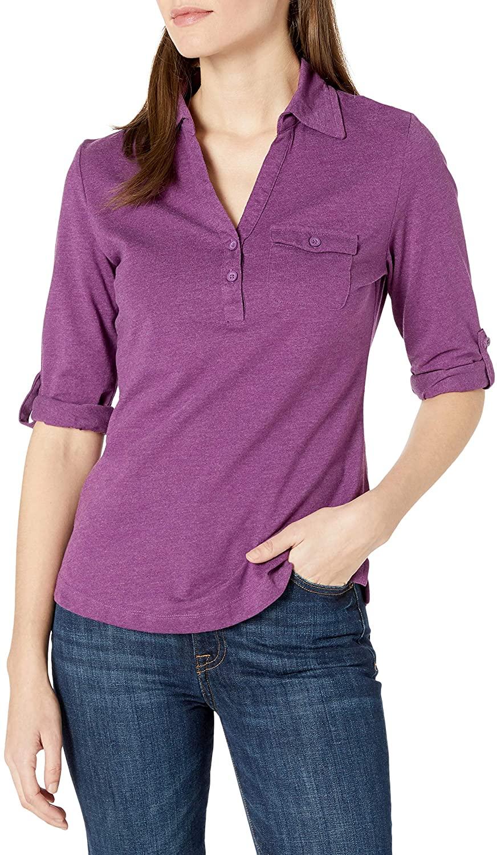 Riders by Lee Indigo Women's 3/4 Sleeve Roll Tab Sleeve Knit Henley Shirt