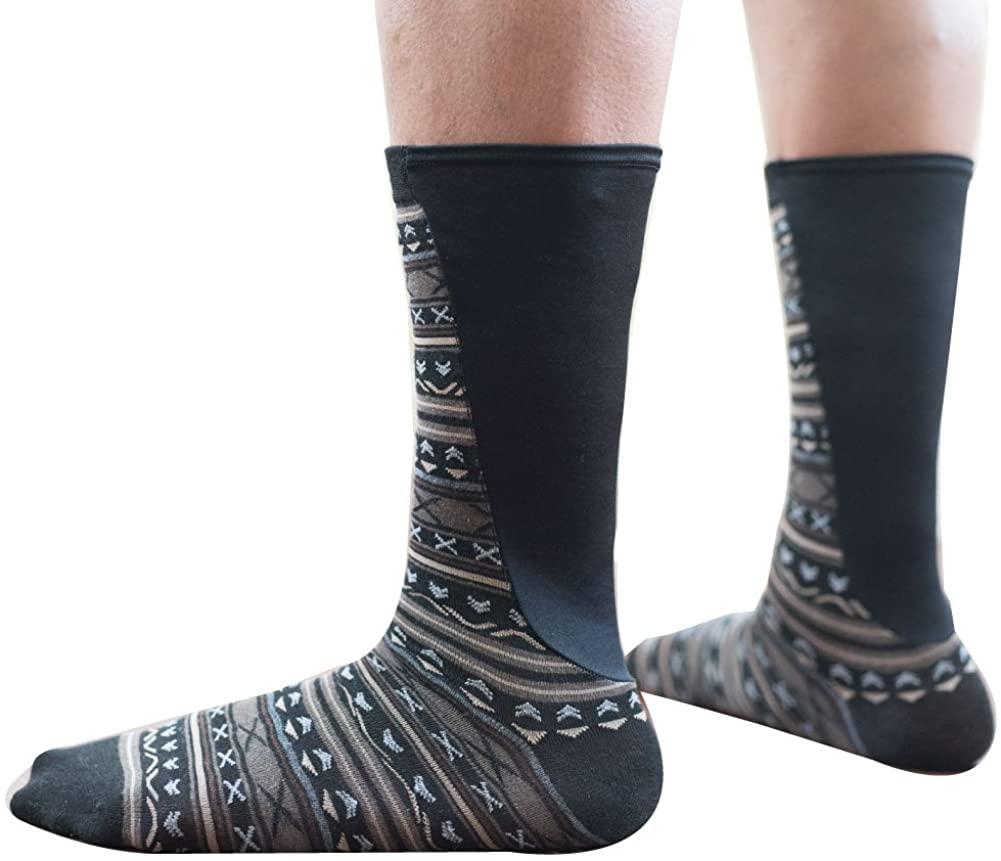Xpandasox Mens Large Calf/Athletic Calf Cotton Blend Black/Navy Crew Socks