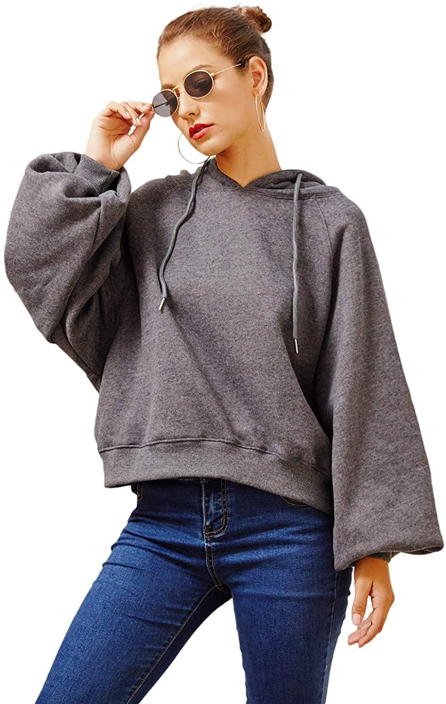 LATH.PIN Women' Cotton Solid Hoodie Casual Loose Oversized Long Sleeve Winter Warm Fleece Pullover Hoodies