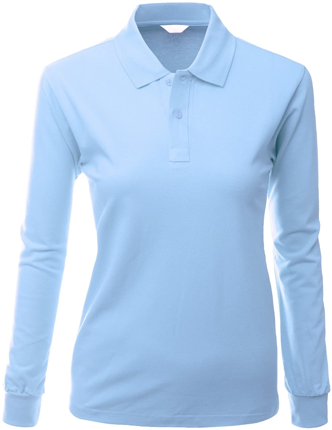 Women's Cotton Casual Basic Polo Dri Fit Long Sleeve Collar T Shirts SkyBlue Size 3XL