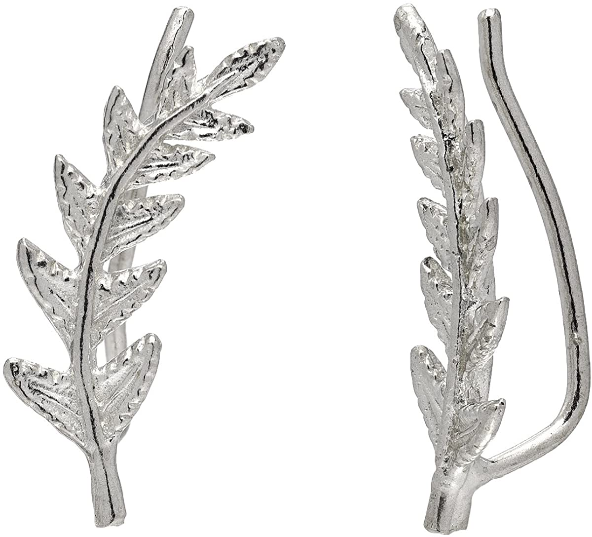 Leaf Crawler Cuff Earrings, Olive Leaf - 925 Sterling Silver with 18K Gold Plating
