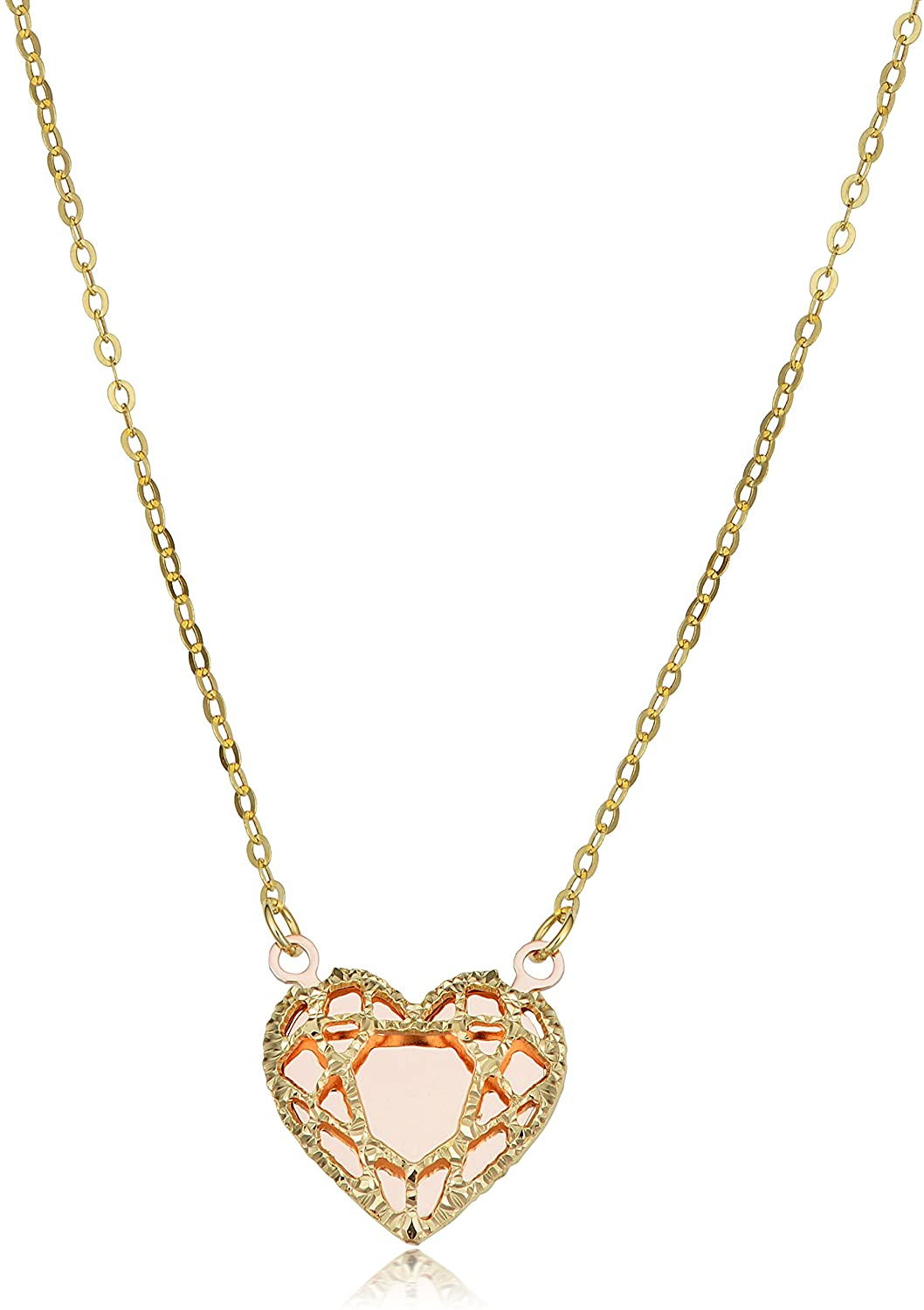 Kooljewelry 14k Yellow Gold and Rose Gold Heart Necklace (adjusts to 16 or 17 inch)