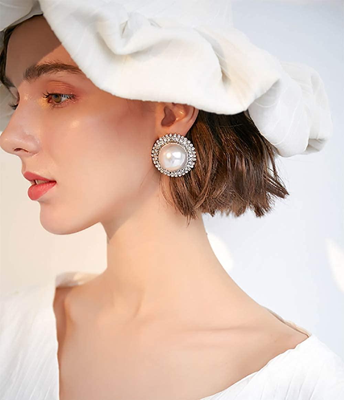 Denifery 925 Sterling Silver Big Pearls Drop Earrings Dangle Earrings Bohemian Statement Earrings for Women Girls Wedding Daily Party