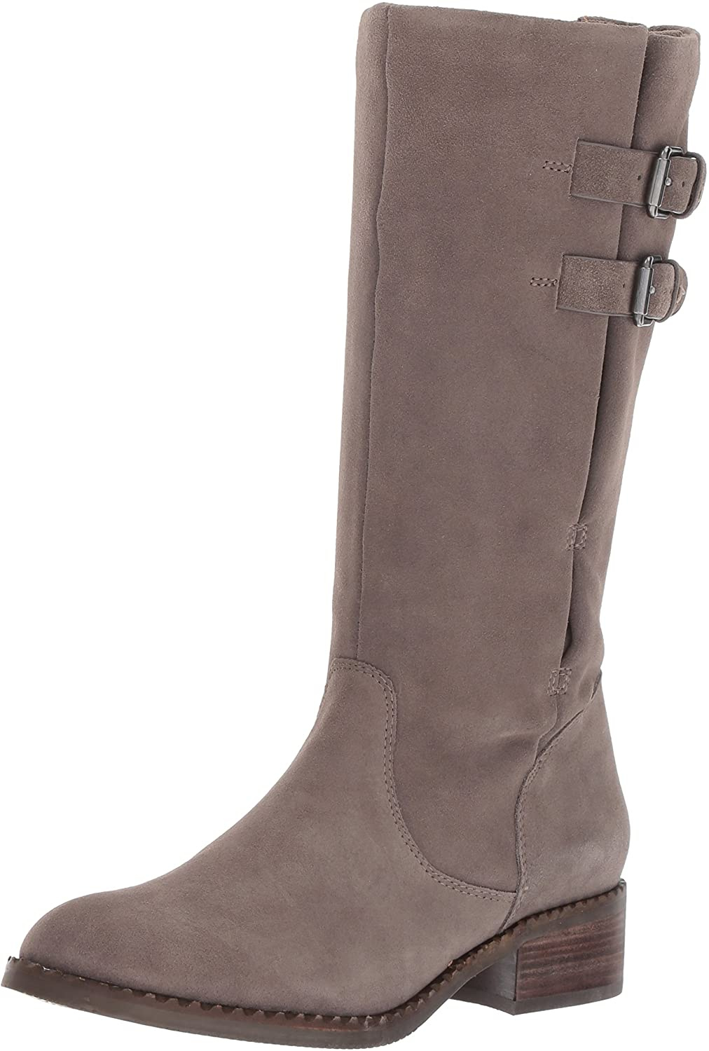 Gentle Souls Women's Brian Mid-Calf Boot with Buckle Detail Angled Topline Suede Harness