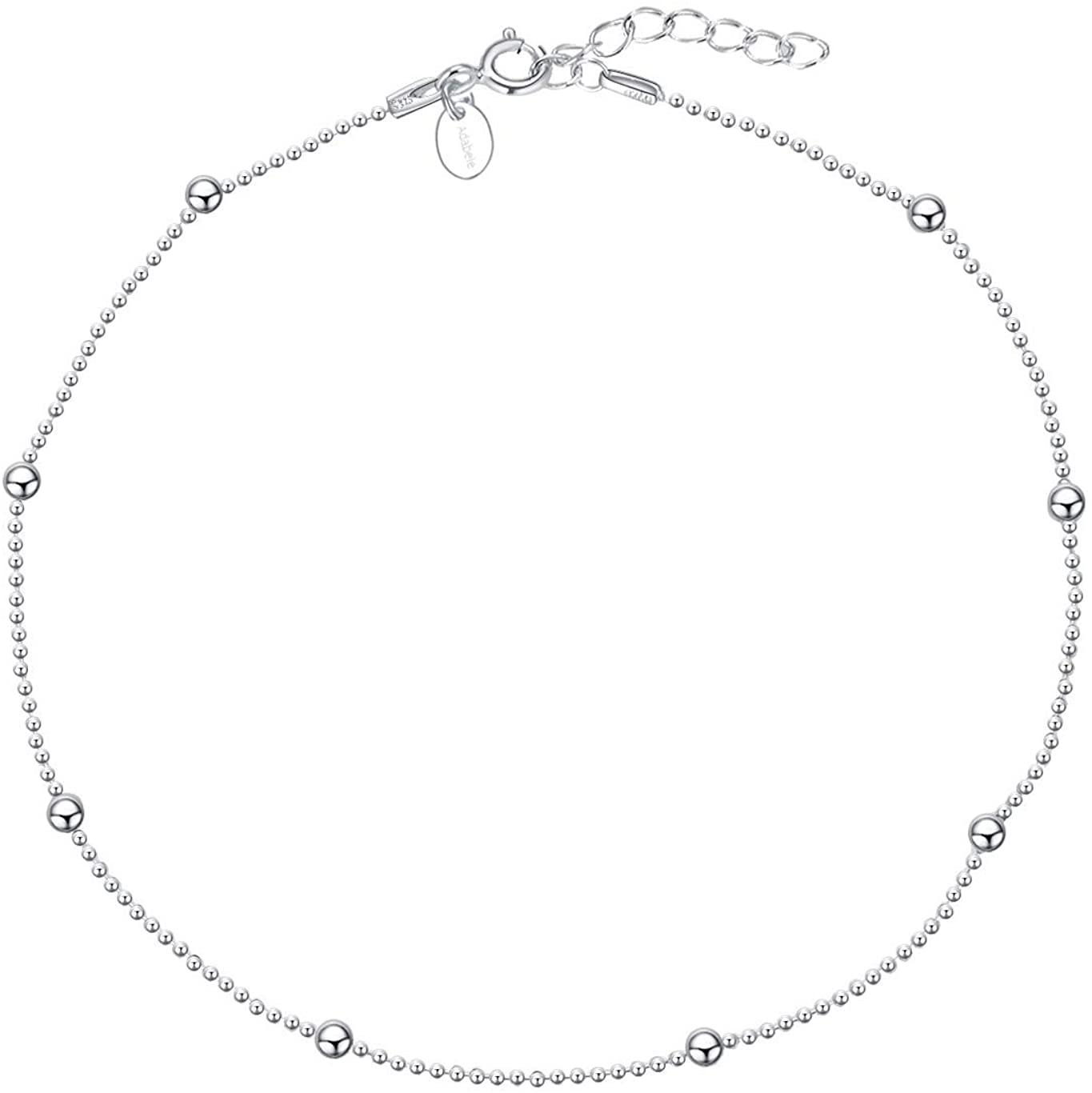 Adabele 925 Sterling Silver Anklet Bracelet 1mm & 2.5mm Bead Station 9