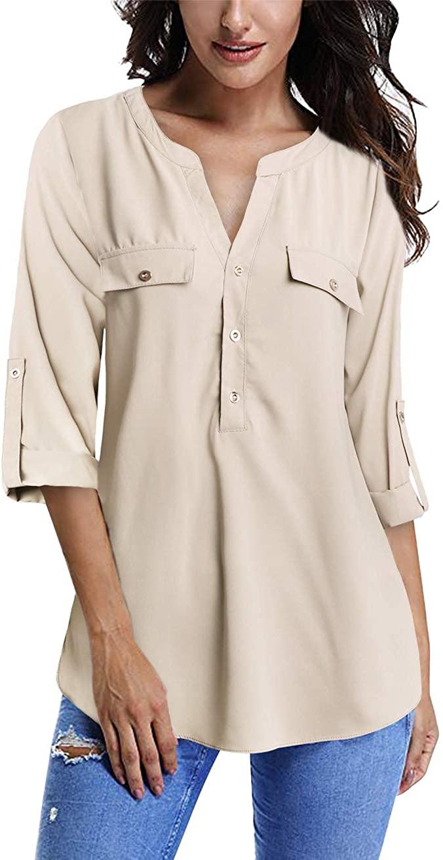 FANSIC Women V Neck 3/4 Roll Sleeve High Low Hem Top Button Down Chiffon Blouse