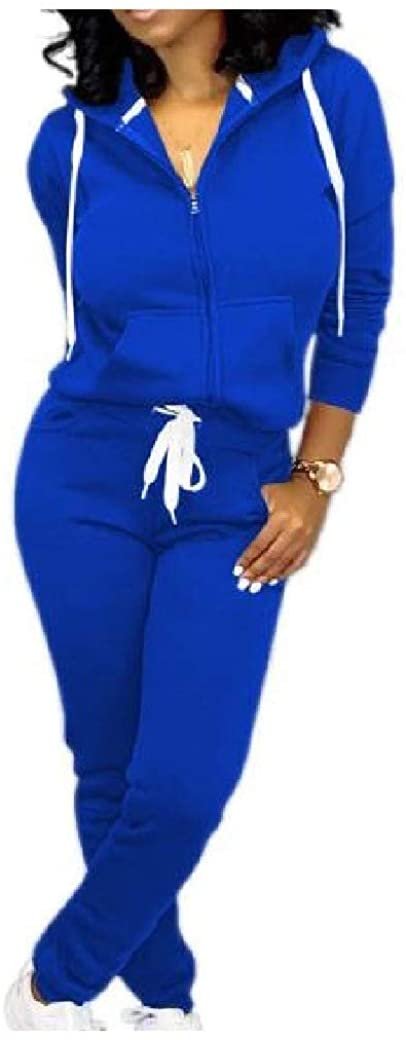 Losait Womens Full-Zip Casual Pockets Tops Outwear and Pants Sets with Hood