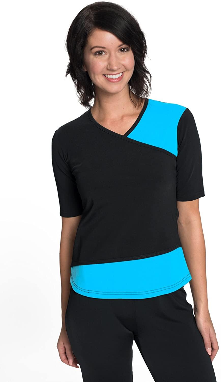 HydroChic Women's Modest Short Sleeve Swim Shirt – Sun Protection Rash Guard UPF 50