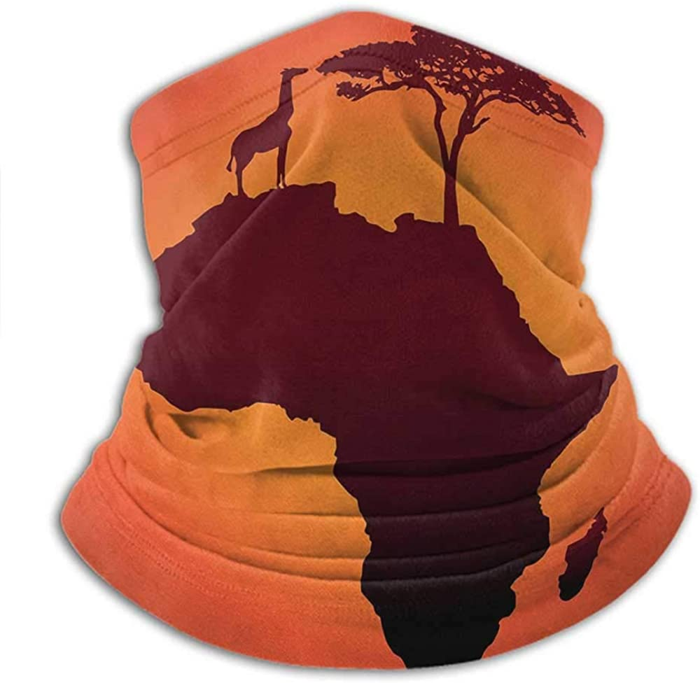 Face Scarf Mask Women African Womens Neck Warmer Safari Map with Continent Giraffe and Tree Silhouette Savannah Wild Design Orange and Brown