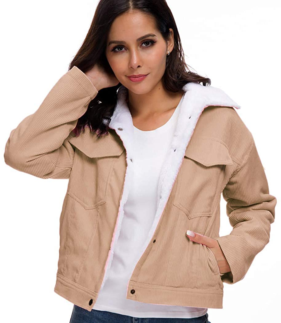 Hunchii Womens Vintage Corduroy Sherpa Fleece Lined Jacket Thickened Warm Quilted Jacket